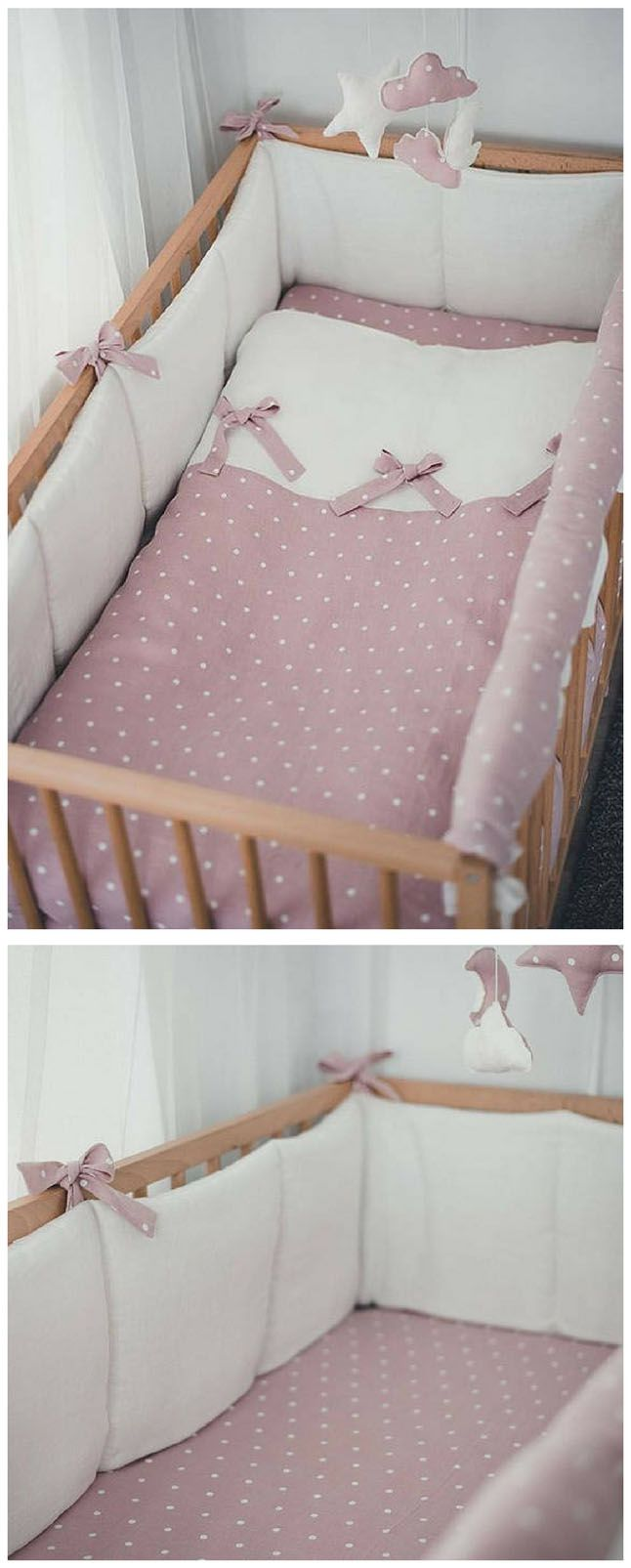White linen crib bumper with pink laces.So sweet, and perfect for a baby