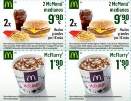 Cupones descuento McDonald's de Septiembre a Noviembre 2013 Si hace unos días citábamos los cupones de descuento de la cadena Burger King, ahora lo hacemos con uno de sus rivales. McDonald's ofrece cupones descuento para los meses de Septiembre, Octubre y Noviembre de 2013 http://www.sorteosyregalosgratis.com/cupones-descuento-mcdonalds-de-septiembre-a-noviembre-2013