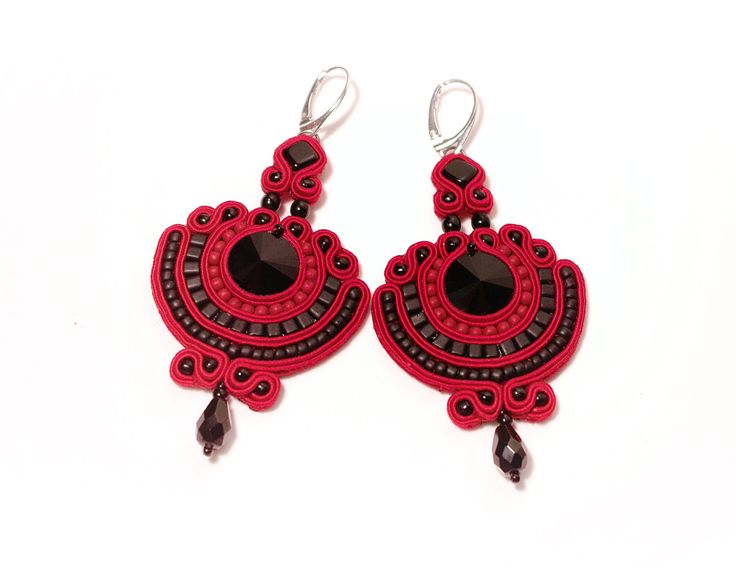 """Gothic Statement Earrings """"Queen of the Crimson Night"""" Soutache And Swarovski Crystals by MystereSoutache on Etsy"""