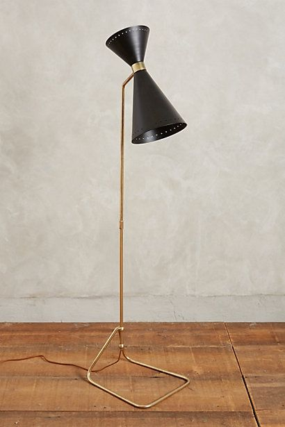 black + brass mcm floor lamp : Novara Floor Lamp #anthropologie