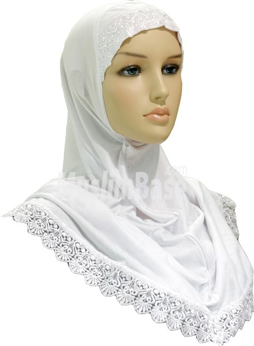 Al Amira Hijab - One Piece With Lace White - Small http://www.muslimbase.com/clothing/hijabs/one-piece-hijab/amira-hijab-piece-with-lace-white-small-p-5461.html
