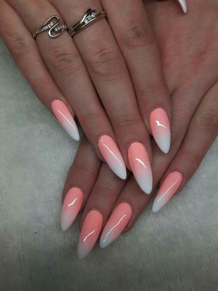 Nice Peach White Acrylic Nails Nail Art Model Ombre Acrylic Nails Ombre Nail Designs Peach Nails
