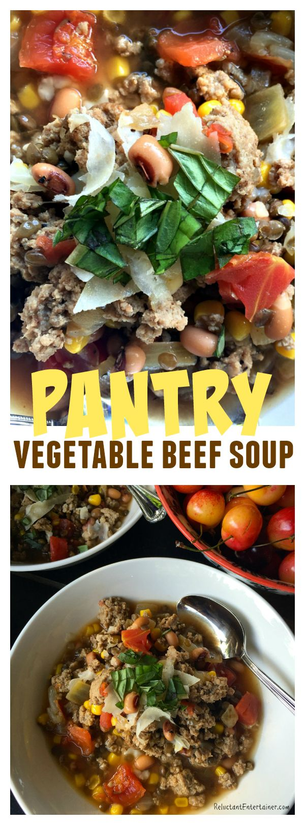 Pantry Vegetable Beef Soup is a simple weeknight meal, easy to make with ingredients stocked in the pantry; add ground beef or turkey and serve -ReluctantEntertainer.com