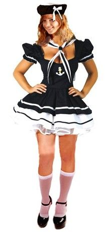 Charming Lady Sailor Fancy Dress Costume.     This great sailor costume includes a navy and white double layered mini dress with puff shoulders and sailor logo, matching neck tie and hat.