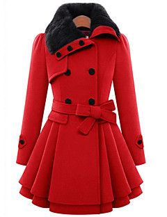 Women's+Casual/Daily+Cute+Coat,Solid+Shirt+Collar+Long+Sleeve+Winter+Red+/+Brown+Wool+/+Cotton+Thick+–+CAD+$+45.86