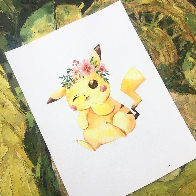 Покемоны вновь завоевывают мир ✨ и я решила их порисовать, конечно первым делом выбрала пикачу  получился милашка симпатяжка с цветами на голове ☺️ #prokhorovaart