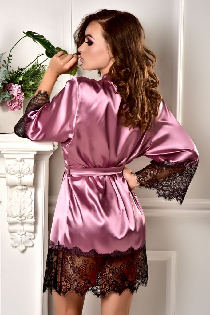 e7ac74d13c This sexy short lace robe is made of Cashmere rose stretch satin. The  sleeves as well as the hem are trimmed with wide black Chantilly lace.