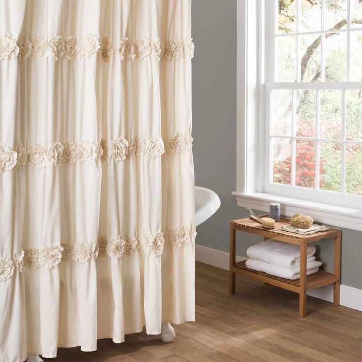 Shower Curtain Ivory Cream Romantic Ruched Flowers Floral Design Polyester 72x72