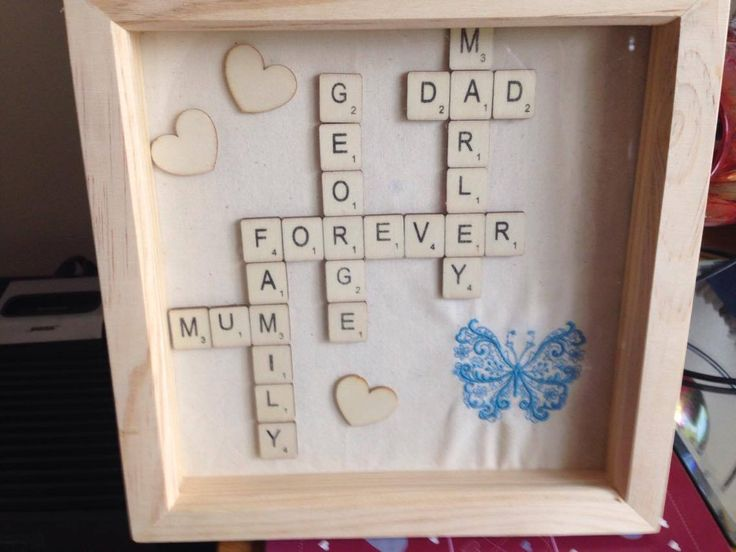 Hand made personalised scrabble style frame. Personalised to order. Machine embroidery butterfly to co-ordinate with decor#frame#wooden#personalised#gift#ornament#family#love
