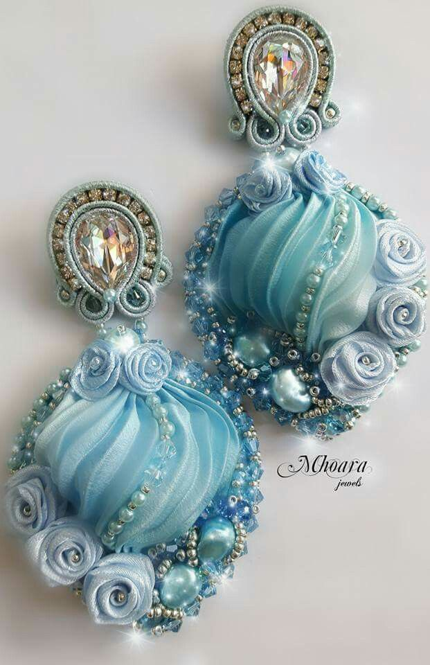 ' Blue Hydrangea ' shibori silk earrings- soutache - silk ribbons - by Mhoara Jewels