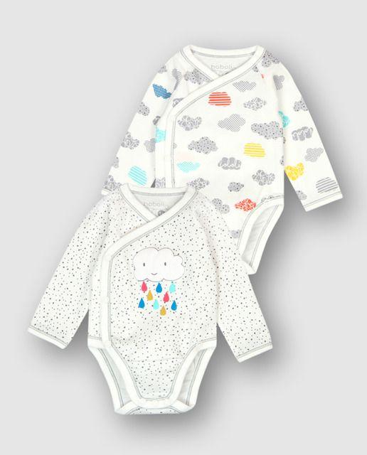 283775d800bae Pack 2 bodys interlock para bebé. Un body es de color blanco químico con  estampado