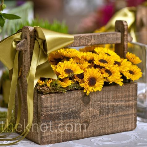A mini trough filled with sunflowers made a rustic flower girl basket.Decor, Flower Girls Baskets, Rustic Flower Girls, Rustic Looks, Wedding Ideas, Sunflowers, Centerpieces, Center Piece, Country