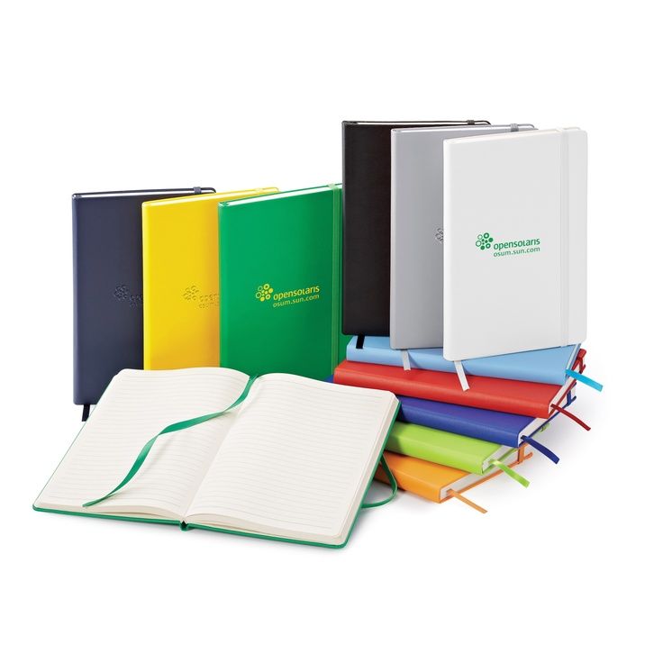 ST4143 NeoSkin® Hard Cover Journal - Colors: black, light blue, dark blue, navy, red, orange, green, medium green, yellow, silver or white. - Imprint Method: Debossed, Silk screened or Laser Touch option (black only).
