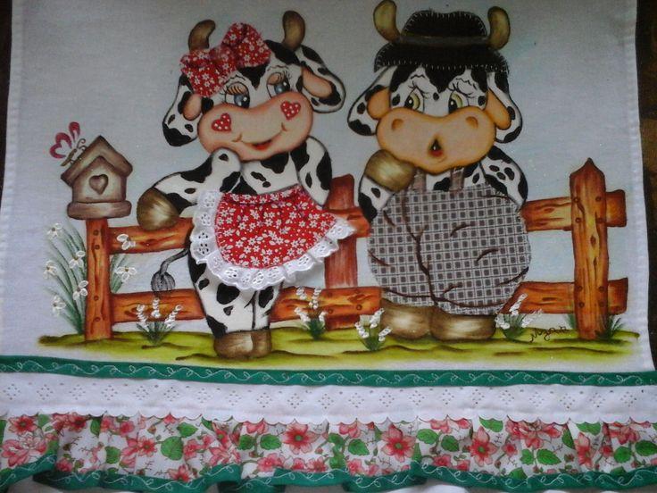 Cortina fogão casal vaca e boi