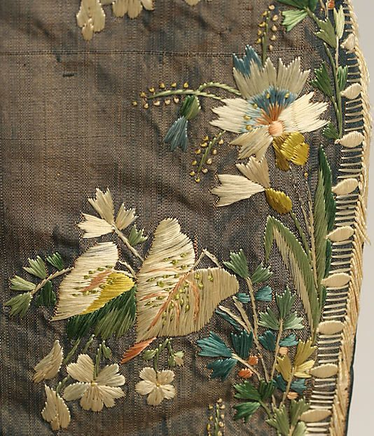 Detail of embroidery on French Coat circa late 18th century.
