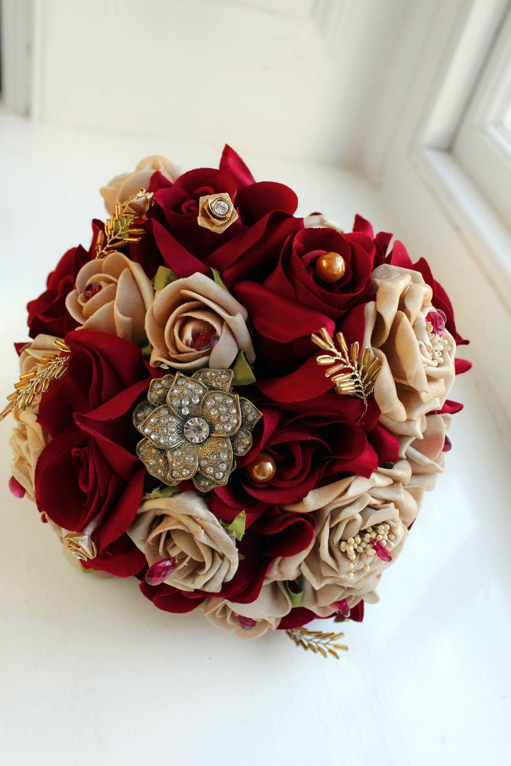 Rose Gold And Red Beautiful Wedding Bouquet With Jewels