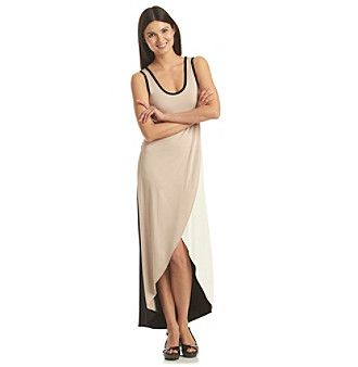 Calvin Klein Scoopneck Tulip Colorblocked Maxi Dress