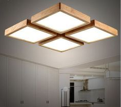 Modern Brief Wooden Led Ceiling Light Square Minimalism Ceiling Mounted  Luminaire Japanese Style Lustre For