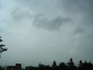 Fractus clouds (scuds): small, ragged cloud fragments usually found under an ambient nimbostratus cloud base; drift rapidly with the wind; rain evaporates and mixes with the air, which becomes saturated and a lower layer of clouds or fog may form beneath the original clouds base (scud)