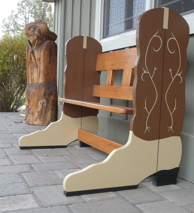 Handcrafted Wood Cowboy Boot Bench Country Western Cowboy Furniture By Plus  Z Ranch (wow,