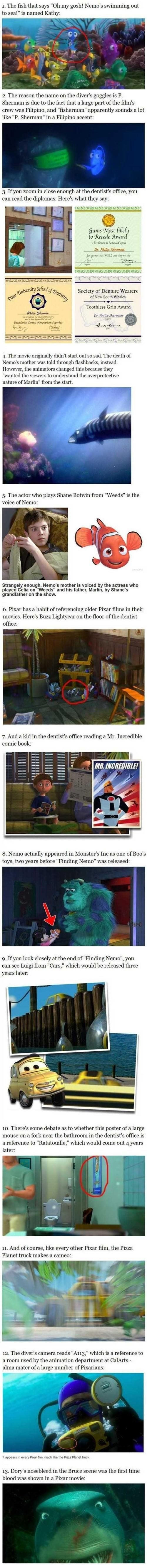 Finding Nemo Facts. Also in the scene where Nigel flies in the dentists office Boo's mobile can be seen.