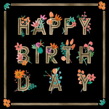 Rebecca Prinn - RP Bold Floral Type Happy Birthday