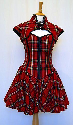 Tartan Plaid Corset Dress Goth Punk Prom OBSIDIAN NEW | eBay