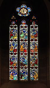 Virtue -Virtues fighting vices, stained glass window (14th century) in the Niederhaslach Church