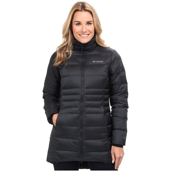 Columbia Hellfire Mid Down Jacket Women's Coat ($200) ❤ liked on Polyvore featuring outerwear, coats, black, coats & outerwear, down jacket, insulated coat, columbia coats, columbia and feather coat