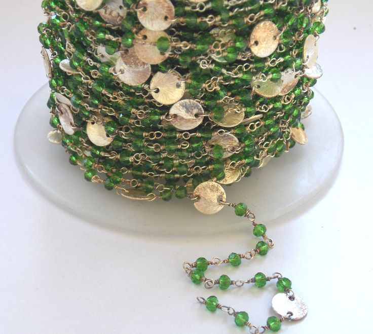 Autumn Sale 5 Ft Green Quartz With Coin Wire Wrapped Chain, 3 - 3.5 mm Beads / Faceted Chain / Handmade Chain / Jewelry Chain (PJ7088PJ) by PlantofJewel on Etsy