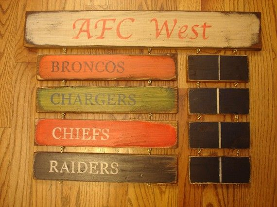Denver Broncos San Diego Chargers Kansas by MyRusticBoardSigns, $69.00