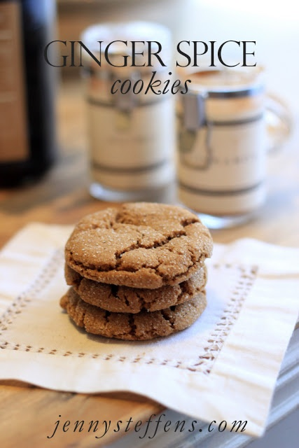 Ginger Spice Cookies http://jennysteffens.blogspot.com/2012/12/ginger-spice-cookies-holiday-cookies.html