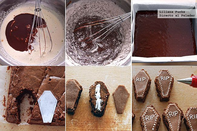 Brownies ataúd de chocolate y mazapán. Pasos