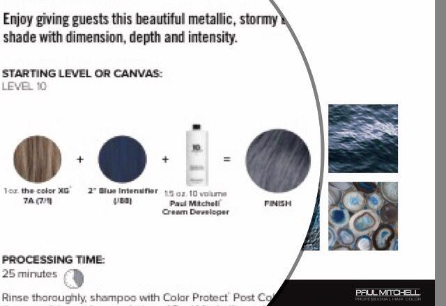"Stormy metallic blue  The Color XG • • • 1 oz 7A + 2"" blue intensifier + 1.5 oz 10 vol"