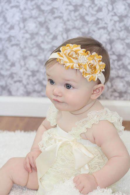 Baby headband Stripe Shabby chic Headband  Newborn headband Baby girl headband Toddler Elastic Photo Prop