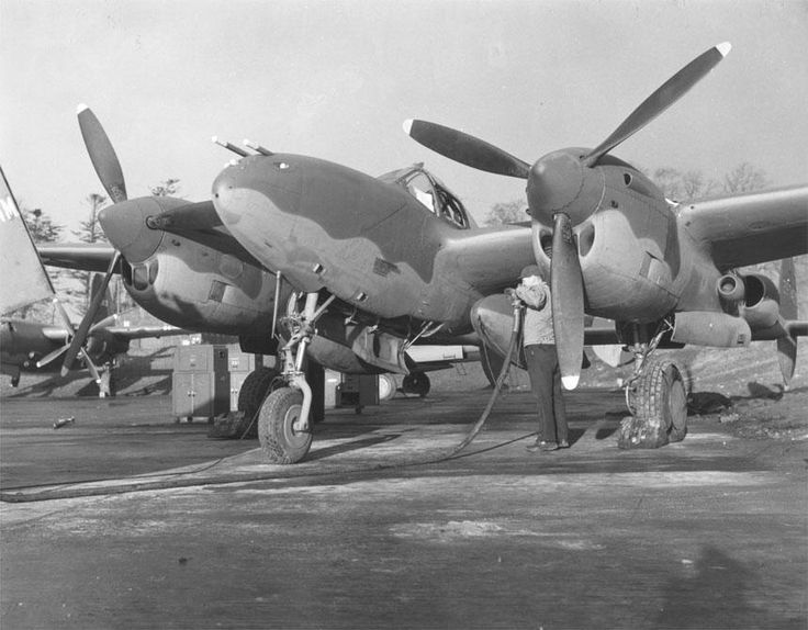 P-38 Lightning aircraft being fueled date unknown