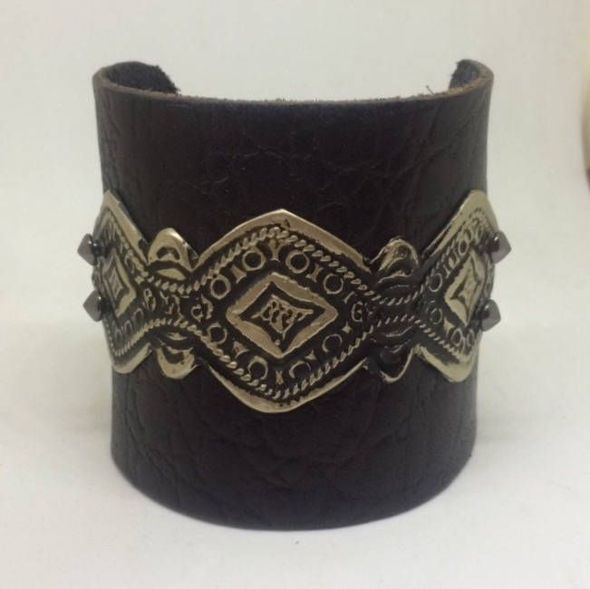 Black Leather Cuff Bracelet for women with silver design. Leather metal cuff Leather Bracelet Boho Jewelry Rock leather metal cuff for her by Studio9DesignsStore on Etsy