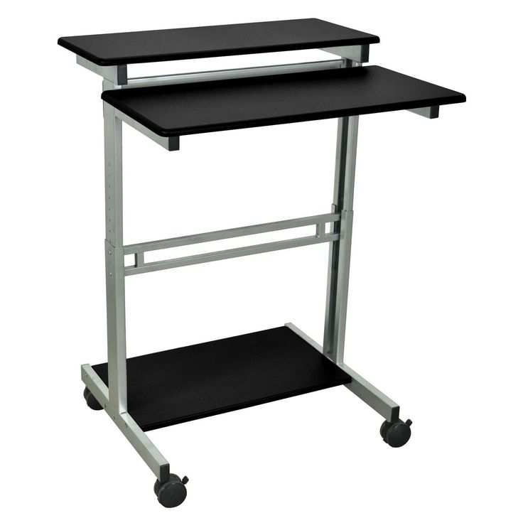 Luxor Mobile Stand-Up Computer Workstation Desk With Silver Gray Frame