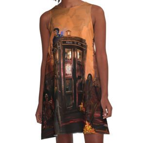 time and space traveller trapped in the zombie land  A-Line Dresses #ALineDresses #clothing #dontblink #statue #angel #spring #winter #fall #autumn #davidtennant #10thdoctor #fog #mist #doctorwho #tardis #starrynight #vangogh #halloween #summer #aztec #mayan #native #mayansimbols #dreamcatcher #residentevil #zombie #zombies #horror #scarred #scarry
