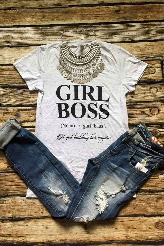 Lavish Boutique  - Girl Boss Tee: Light Grey, $34.99 (http://lavishboutique.com/girl-boss-tee-light-grey/)