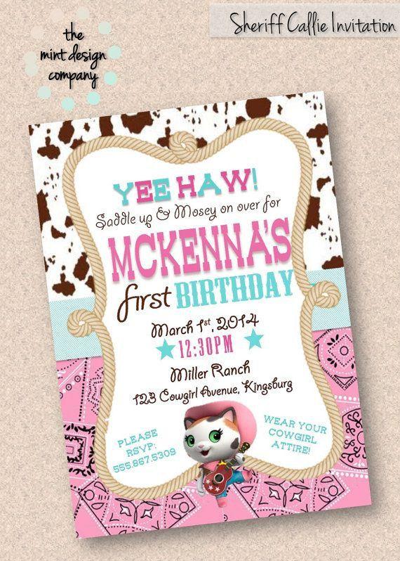 Sheriff Callie Birthday invitación fiesta Diseño por MintDesignCo