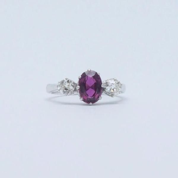 Contemporary Ruby and Diamond Three Stone Ring.