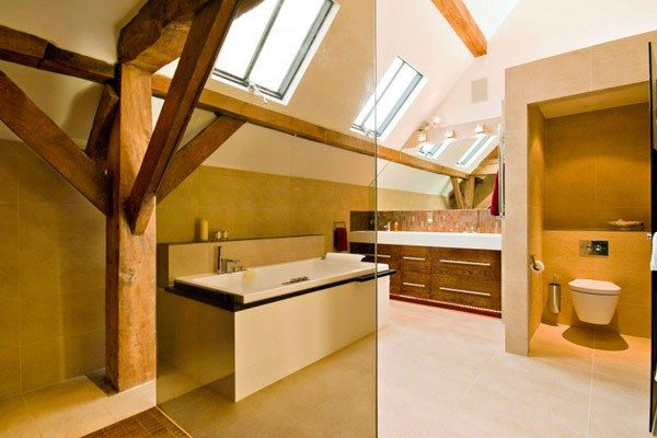 Attic Conversion for Country House Design with Courtyard