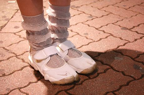 Nike Air Rifts, Anrealage socks.
