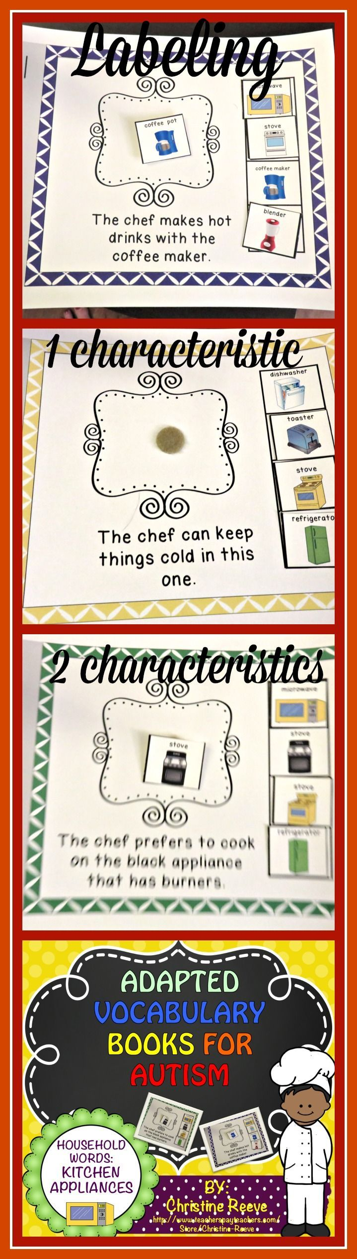Perfect for students with autism working on basic vocabulary understanding.  This set of 3 interactive books can be used 1-1 or in groups to work on identifying kitchen items by name, characteristics and function.  $3.50