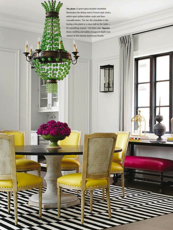 Love these yellow chairs and bold green chandelier.