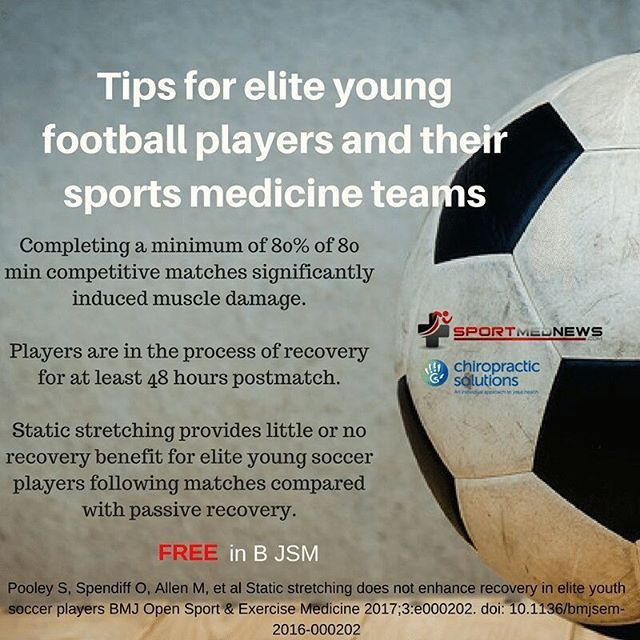 Great FREE article for elite young soccer players via @bjsm_bmj.  Graphic by @sportschiroluke  And I  http://bmjopensem.bmj.com/content/3/1/e000202  Take home messages:  Completion of a minimum of 80% of 80 min competitive soccer matches of elite youth soccer players significantly induced muscle damage.  As a result of muscle damage sustained from competitive soccer matches, elite youth soccer players are in the process of recovery for at least 48 hours postmatch.  Static stretching provides…