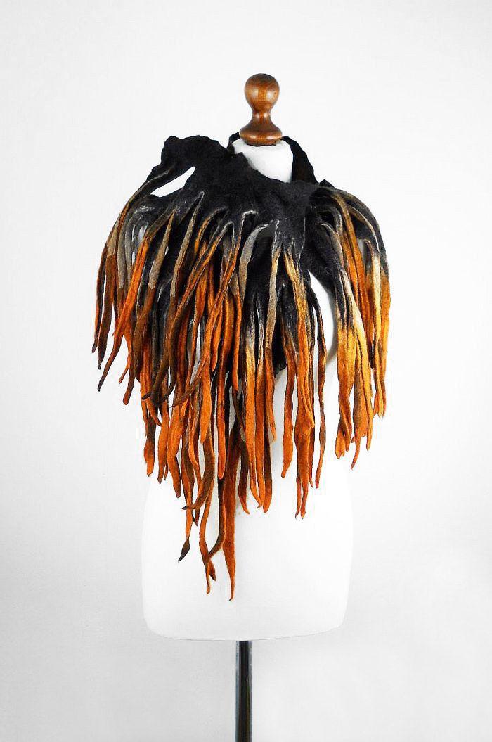 Felted Scarf  Art Wrap wearable art Scarves wild shawl Felt Nunofelt Nuno felt Silk Eco Fiber Art