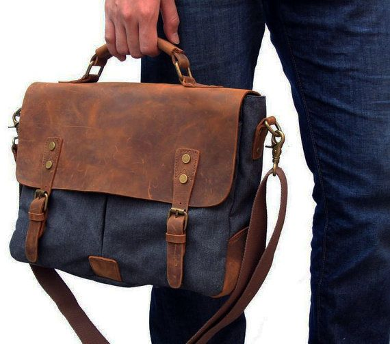 "15"" Brown Leather Canvas Messenger Bag, Leather Shoulder Bag, Men Rustic Crossbody Bag, Leather Laptop Bag"