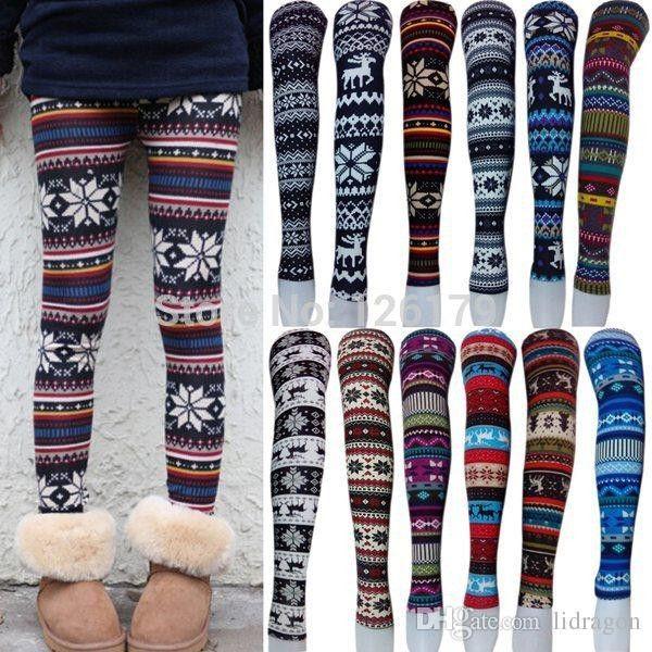 Women Printed Leggings Colorful Snowflake Christmas Deer Graffiti Legging Cashmere Knitted Slim Leggings Tights